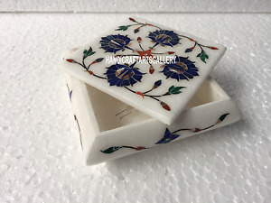 """4""""x4""""x2"""" White Marble Jewelry Box Lapis Floral Inlay Décor Beautiful Gift H3519"""