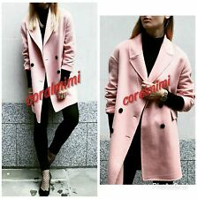 ZARA NEW Pink wool BLEND DOUBLE BREASTED CONSTRAT BUTTONED COAT SIZE L
