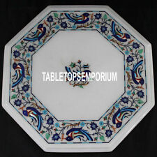 12'' White Marble Center Side Table Top Birds Arts Inlay Decor Marquetry Work