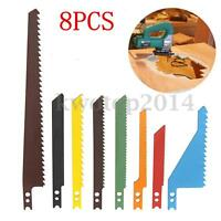 8Pcs Jig Saw Sabre Scroll Assortment Blades Set Wood Metal Steel Drywall Blades