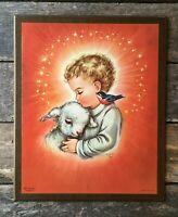 1958 Charlot Byj Jesus Lamb Bird Wooden Wall Plaque Vintage Litho Italy 9x11