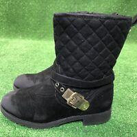 Girls Michael Kors Malka Boots Black Short Quilt Stitched Cute Size 4