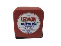 Vintage Irwin Small  Red 12' Autolok Power Tape Measuring Tape Cb312