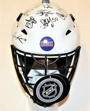 2017-18 Edmonton Oilers Team Signed Goalie Mask w/COA Yamamoto Lucic