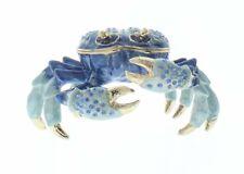 Blue Crab Jeweled Swarovski Crystal Trinket Box Shell Crustacean Seashore