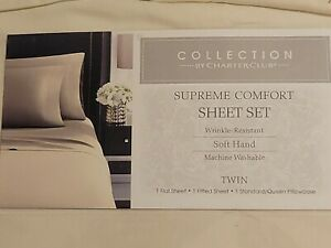 Twin Sheet Set Supreme Comfort Soft Hand Wrinkle Resistant Ivory by Macy's-3 Pcs