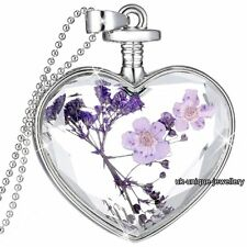 GIFTS FOR HER Purple Flowers Silver Necklace Pendant Chain Xmas Women Jewellery
