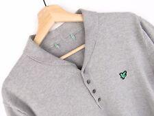 jy2750 Lyle & Scott Maglietta Polo ORIGINALE COTONE PREMIUM GRIGIO TAGLIA M