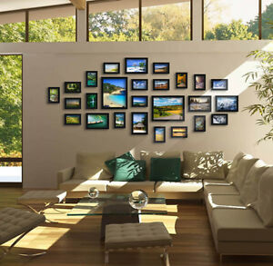 CN Wood 26pcs Multi Picture Collage Set Wall Mount Photo Frames Home Decor