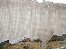 Schlichte Landhausgardine Vichy Karo beige-weiß 1,20mx38cm Deko Herz