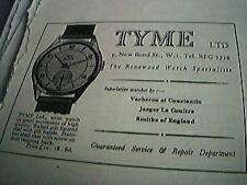 news item 1953 advert tyme watch specialists new bond street