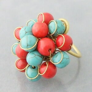 HANDMADE SIMULATED CORAL & TURQUOISE STATEMENT RING, ADJUSTABLE