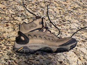 Men's sz 10 M MERRELL Pulse II Waterproof Mid Brown Leather Hiking Boots Vibram