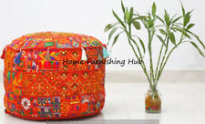 """Handmade Cotton Ottoman Patchwork Round Indian 18x14"""" Pouf Cover Stool Ethnic"""