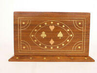 Beautiful Wood Box Metal Inlay - Holds 2 Decks Vintage Trump Brand Playing Cards