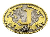Initial J belt buckle Gold Silver Rodeo Western Cowboy Gift Friend Men women New