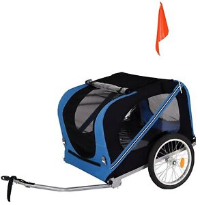 Bicycle Trailer for Dogs with Towing Hitch and Seat Belts Blue / Black