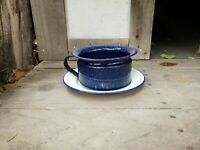 Vintage Enamelware Chamber Pot & Underplate Blue & White Speckled