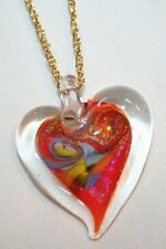 Lovely Red Glitter Lampwork Glass Heart Goldtone Pendant Necklace  +++