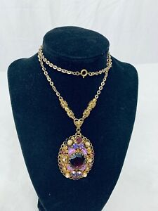 "1920's Western Germany Purple Rhinestone Necklace Pendant 22"" Chain - Pendant 2"""