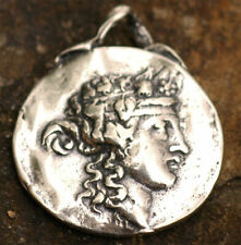 Vintage Greek Coin Reproduction, Sterling Silver God of Wine, Dyonisius Pendant