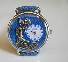 Western Style Silver Finish/Blue Faux Leather Cowgirl Boot Fashion Women's Watch