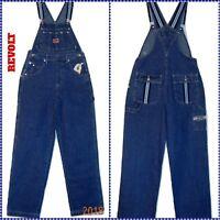 ~REVOLT Classic Blue Denim Bib Overalls w/ Ribbon Trim