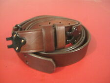 "Military Style Leather Rifle Sling w/Metal Hooks - Two Piece - 1 1/4"" Wide"