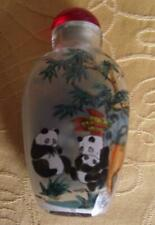 More details for oriental panda & bamboo fine detailed reverse inside hand painted snuff bottle b