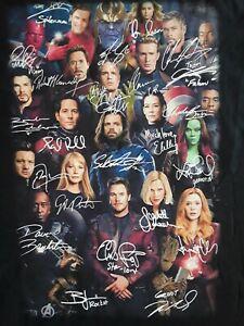 Avengers Endgame Superheroes Characters Signatures T Shirt Cotton Unisex LARGE
