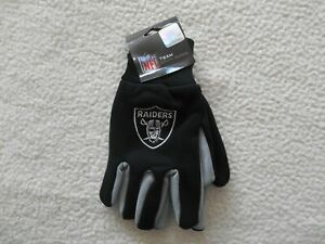 Authentic NFL  Oakland Raiders Football Utility Gloves 1 Size Fits All TAGS NEW