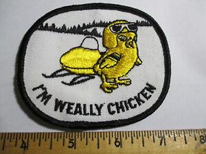 I'm Weally Chicken Snowmobile Patch NOS Vintage Winter Sports Original