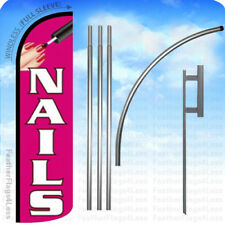 Nails Windless Swooper Flag Kit 15 Feather Banner Salon Sign Pq