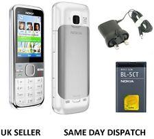 NUOVA condizione Nokia Brand C5-00 BIANCO WEBCAM BLUETOOTH RADIO FM 3G Sbloccato Telefono