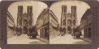 Façade Da La Cattedrale Da Reims Francia Foto Stereo Vintage Analogica