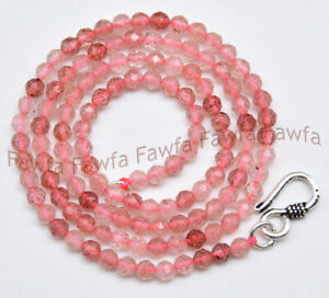 3mm Faceted Natural Pink Strawberry Quartz Crystal Round Beads Necklace 16-30''