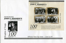 Tonga 2017 FDC John F Kennedy JFK 100th Birth 4v M/S Cover US Presidents Stamps