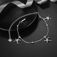 Chain Foot Ankle Charm Bracelet #Ab12 Womens 925 Sterling Silver Star Fish Link