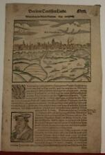 WITTENBERG GERMANY 1614 SEBASTIAN MÜNSTER UNUSUAL ANTIQUE WOODCUT CITY VIEW