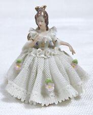 "Vtg Mini Dresden German Porcelain Lace Dress Lady On Blue Settee Figure 2-1/2"""