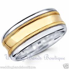 18K WHITE YELLOW TWO TONE GOLD MILGRAIN WEDDING BAND MEN'S MANS COMFORT RING 8mm