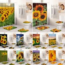 Sunflower Bathroom Rug Set Shower Curtain Non Slip Toilet Lid Cover Bath Mat