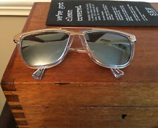 SEE eyeware Sunglasses, Mirrored Lenses, Gold Metal Frame with Box Cloth Wipes