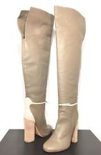 DEREK LAM Womens Taupe Gray Beige Heeled Leather Knee High Boots 40 -MSRP $1,295