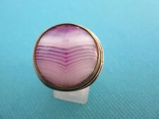 925 Sterling Silver Agate Ring With Brass Bezel  UK P 1/2 US 8 (rg2774)