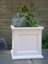 "Large 18"" Square White Madison Flower Box Planter W/ Water Minder Feature"