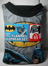 Brand New Boys BATMAN 2 piece Flannel Pajamas Sleepwear Set Size 4/5 4 5