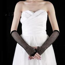 Fashion Womens Punk Neon Fishnet Fingerless Long Gloves Party Wear Fancy Dress