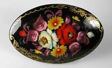 Russische Lackmalerei Brosche Holz Blumen signiert Miniaturmalerei oval