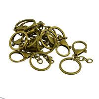 10pcs Key Ring Keychain Lobster Clasp Findings Split Ring Keyring Bronze